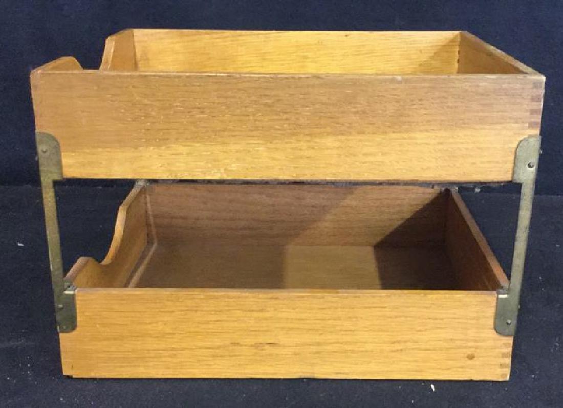 VintageTwo Tiered Oak Brass Desk Organizer - 5