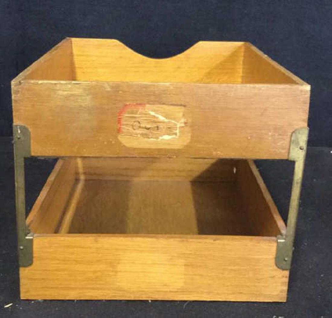 VintageTwo Tiered Oak Brass Desk Organizer - 6