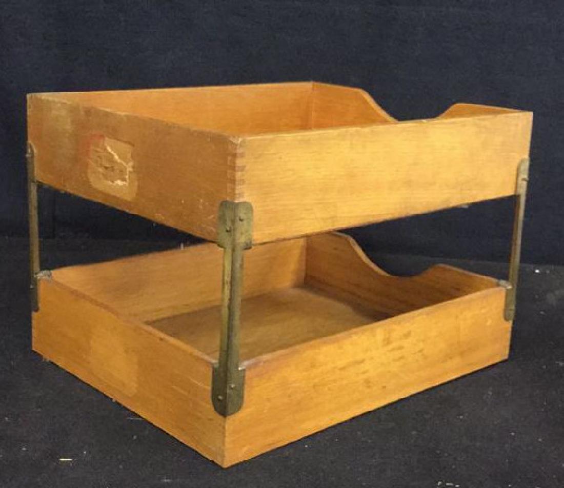VintageTwo Tiered Oak Brass Desk Organizer - 7