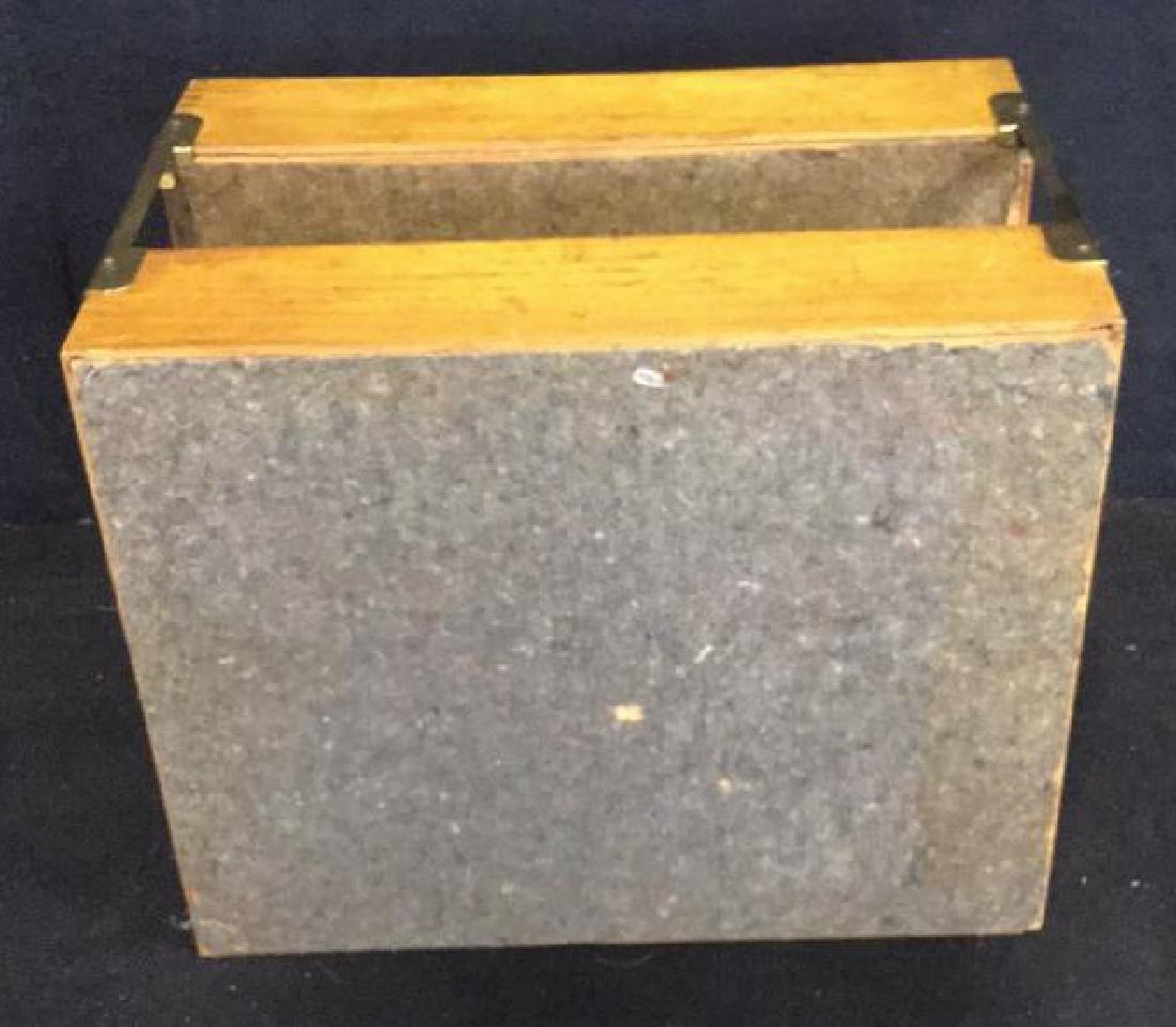 VintageTwo Tiered Oak Brass Desk Organizer - 8