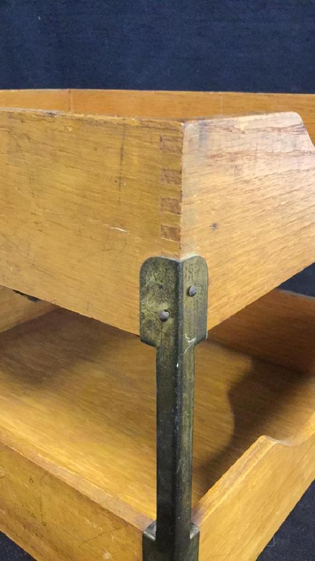 VintageTwo Tiered Oak Brass Desk Organizer - 9