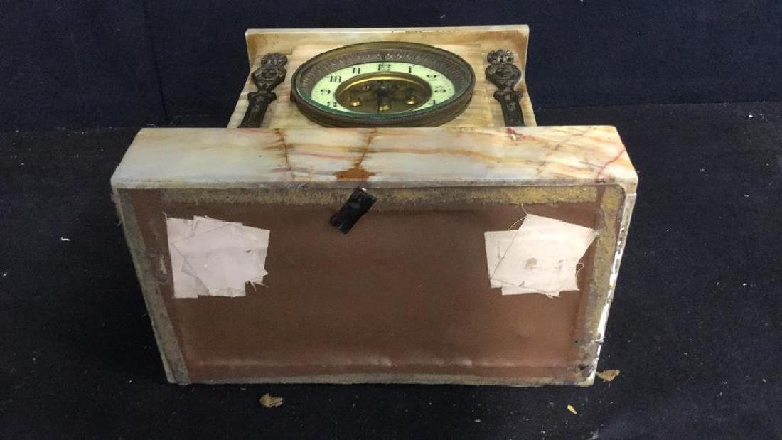 Vintage Carved White Marble Mantle Clock - 10