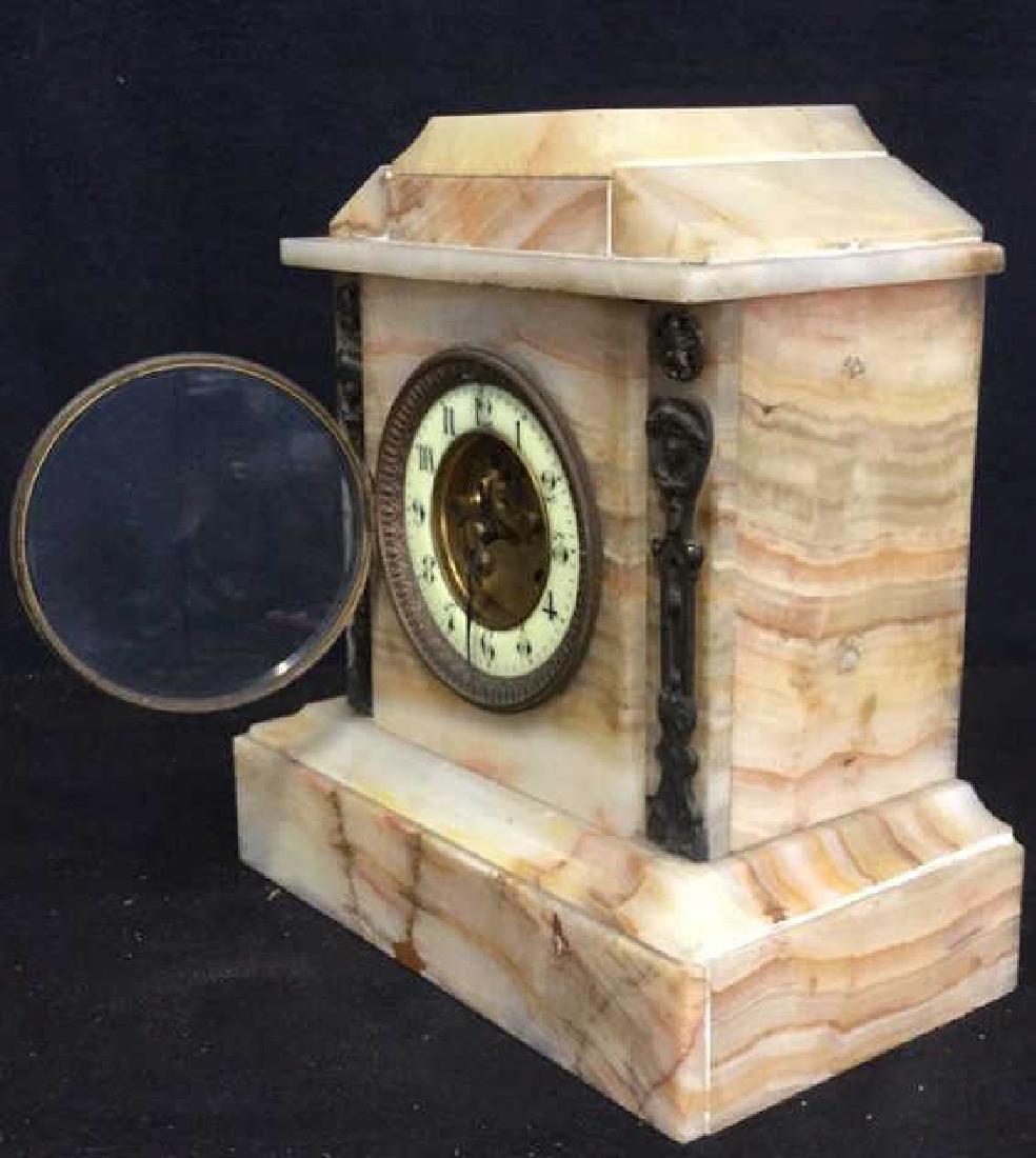 Vintage Carved White Marble Mantle Clock