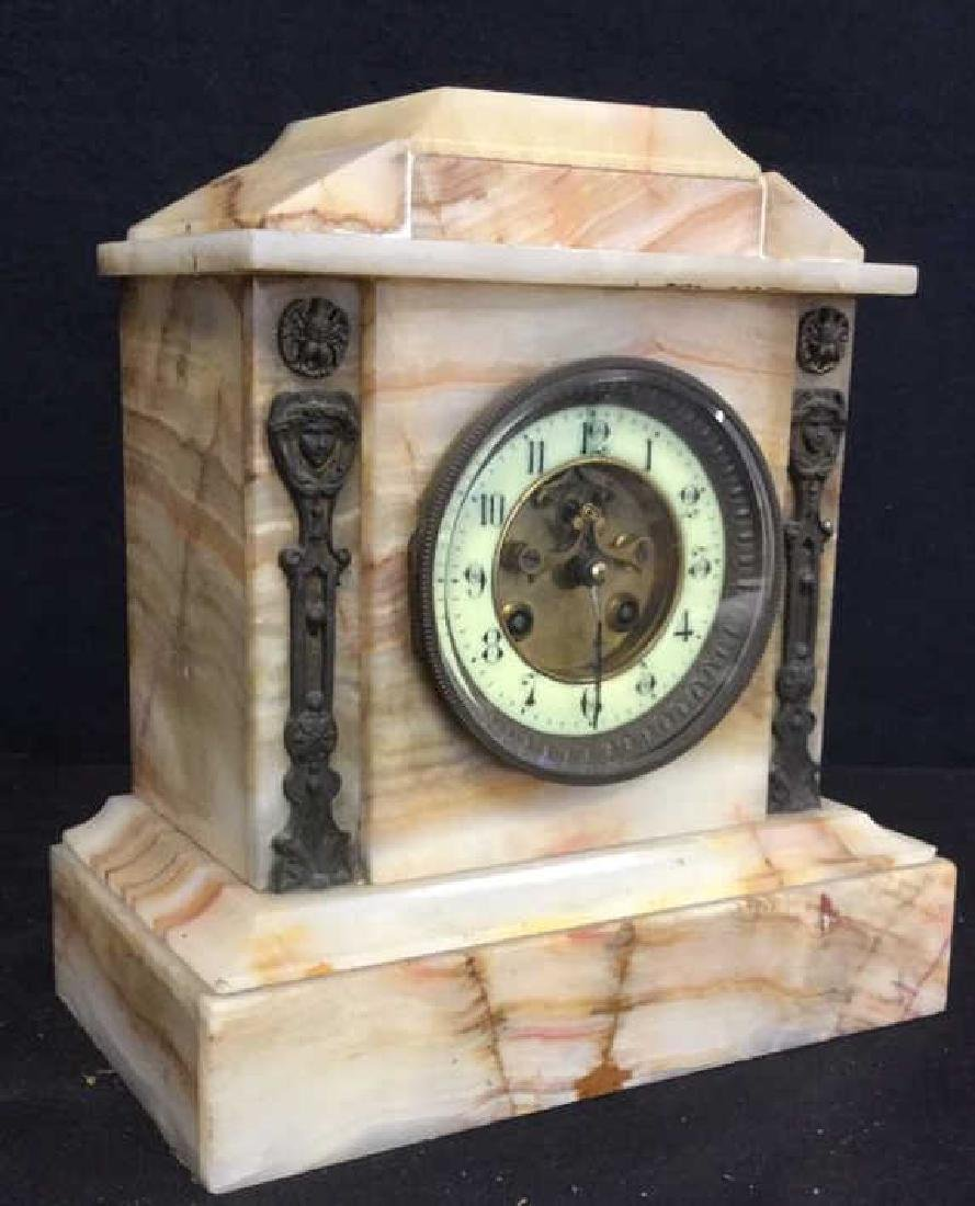 Vintage Carved White Marble Mantle Clock - 5