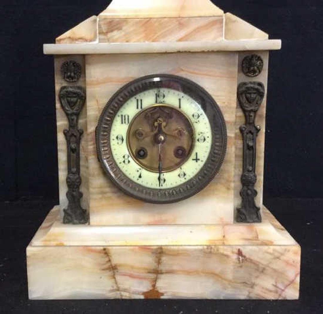 Vintage Carved White Marble Mantle Clock - 7