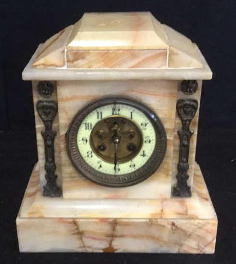 Vintage Carved White Marble Mantle Clock - 8