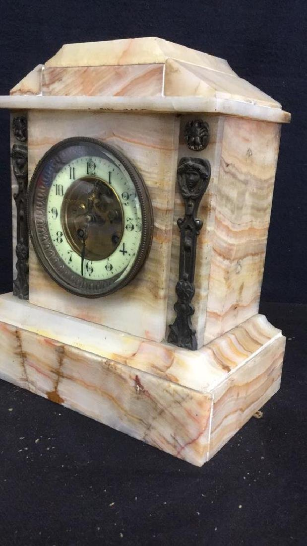 Vintage Carved White Marble Mantle Clock - 9