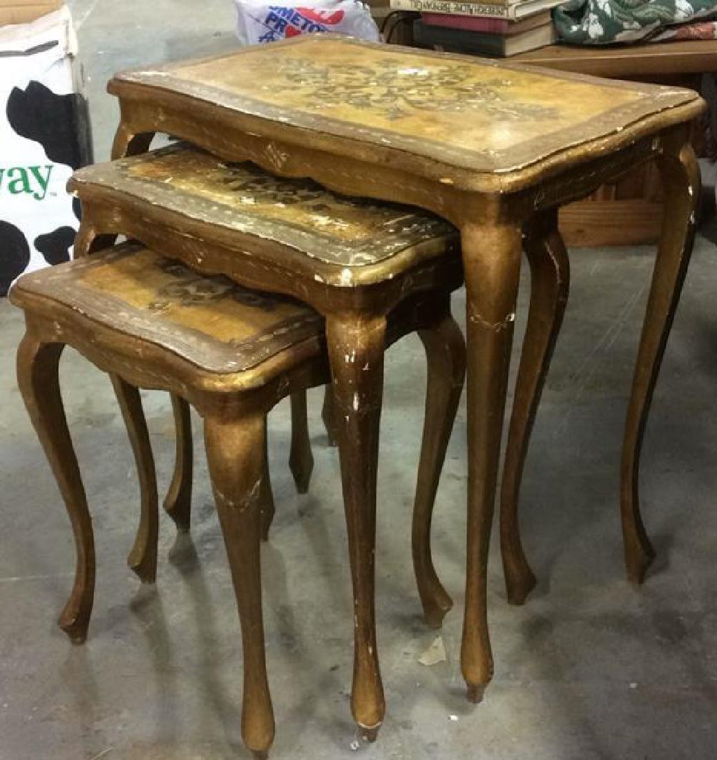 Lot 3 Italian Vintage Ornate Wooden Nesting Tables - 2