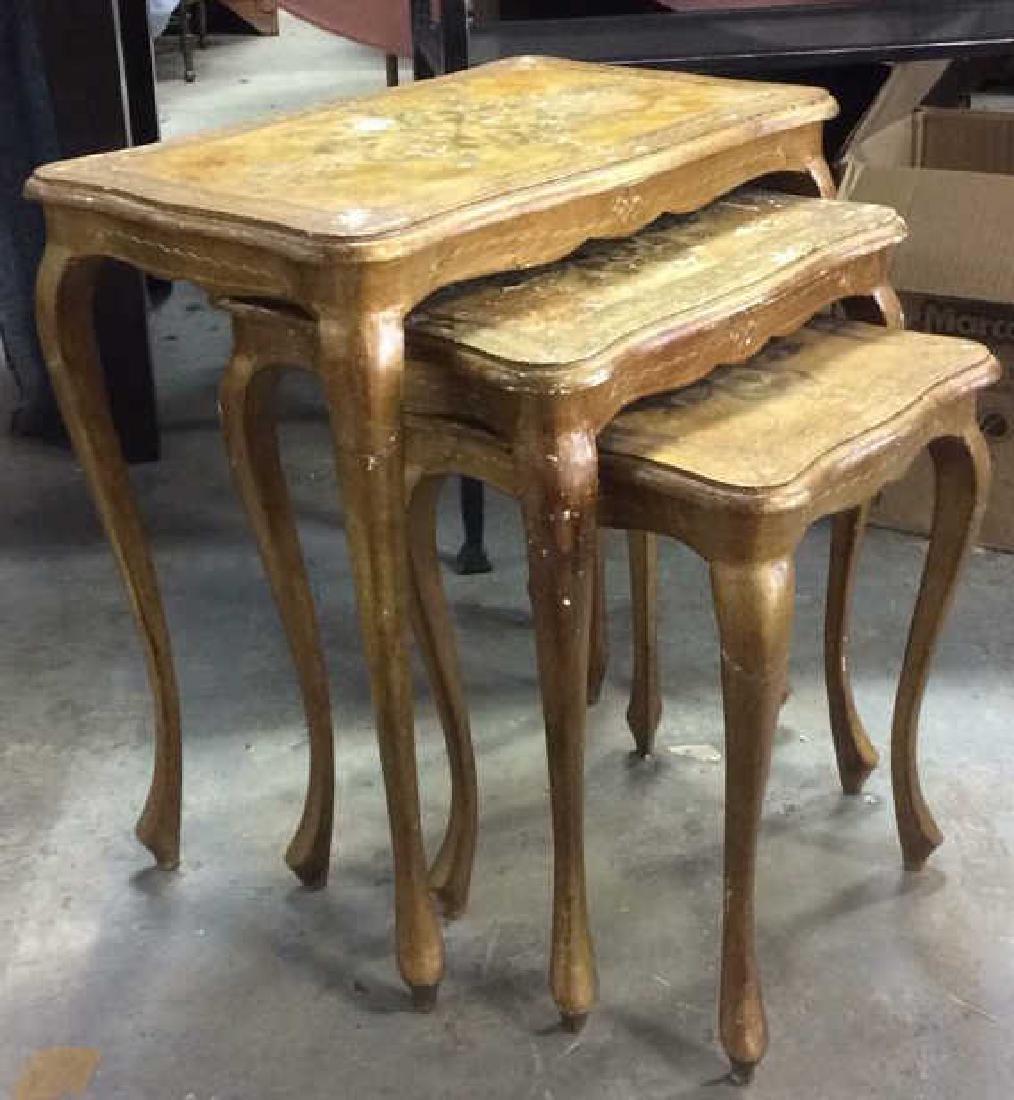 Lot 3 Italian Vintage Ornate Wooden Nesting Tables - 3