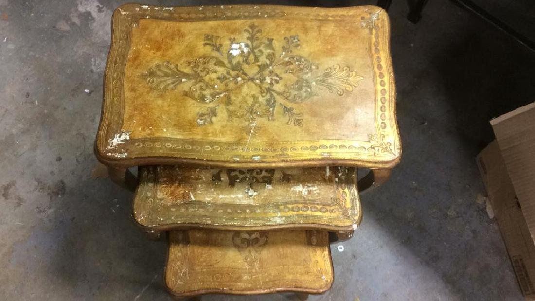 Lot 3 Italian Vintage Ornate Wooden Nesting Tables - 4