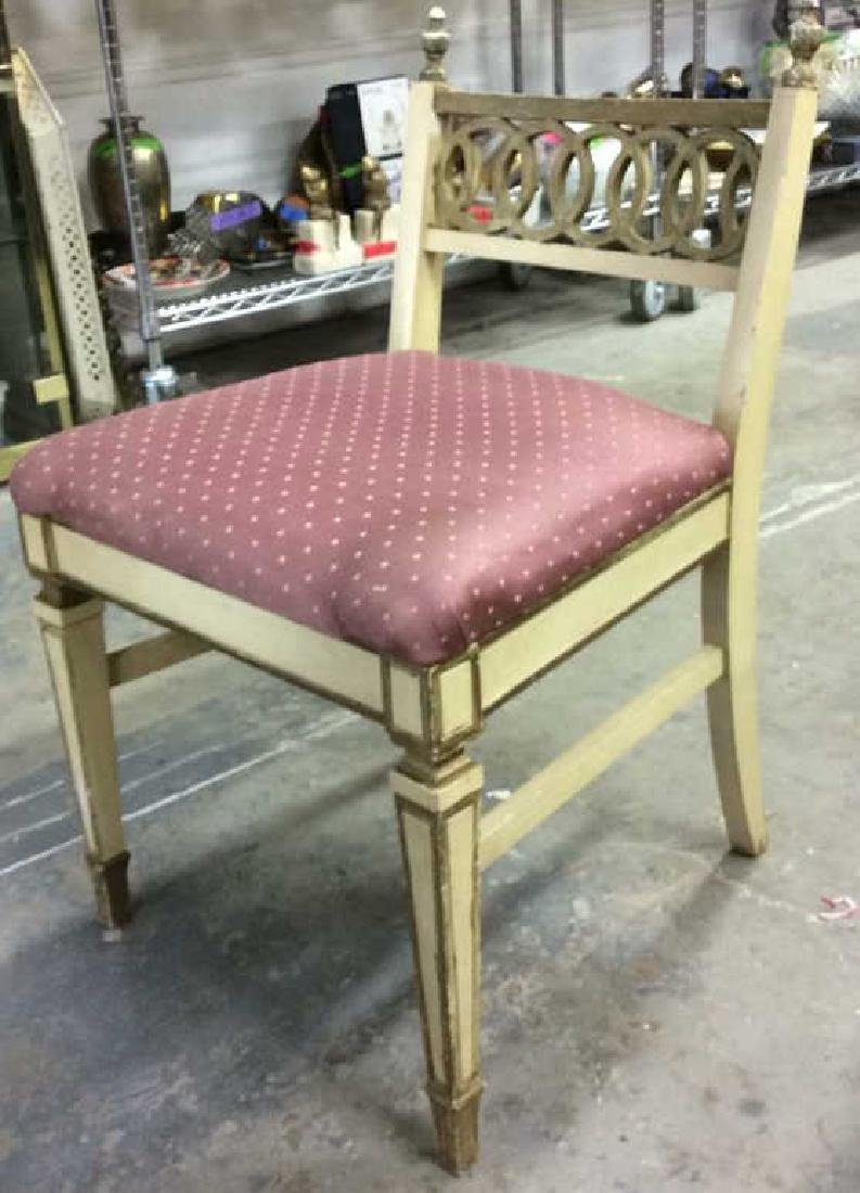 Vintage Cushioned Wooden Side Chair - 3