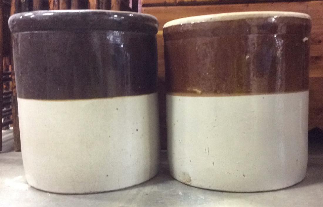 Pair Vintage 2 Toned Ceramic Pickle Barrels - 2