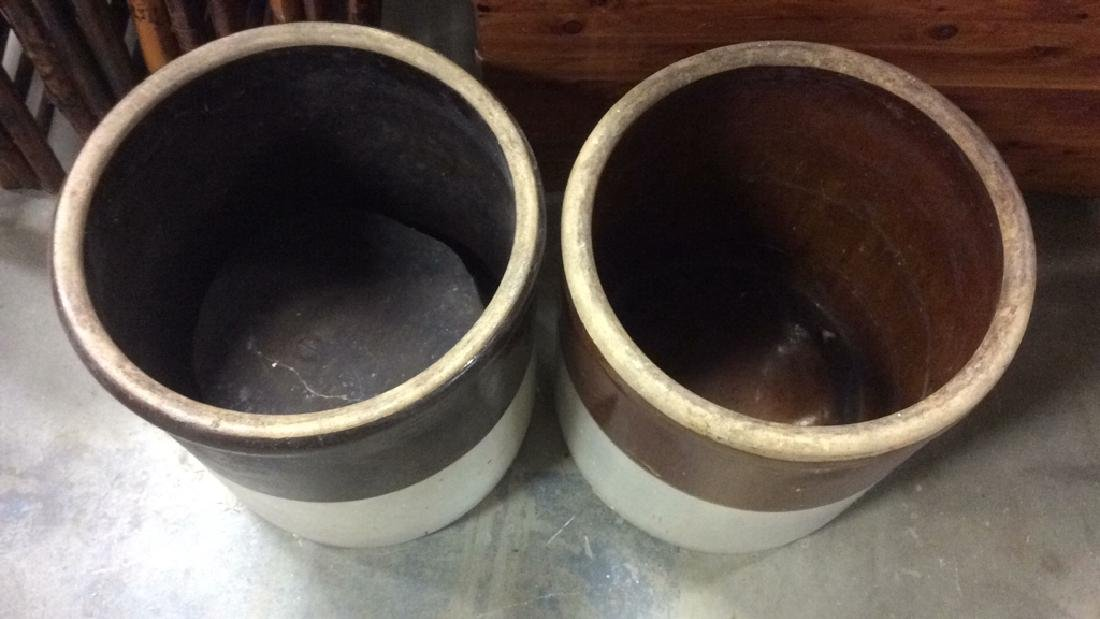 Pair Vintage 2 Toned Ceramic Pickle Barrels - 3