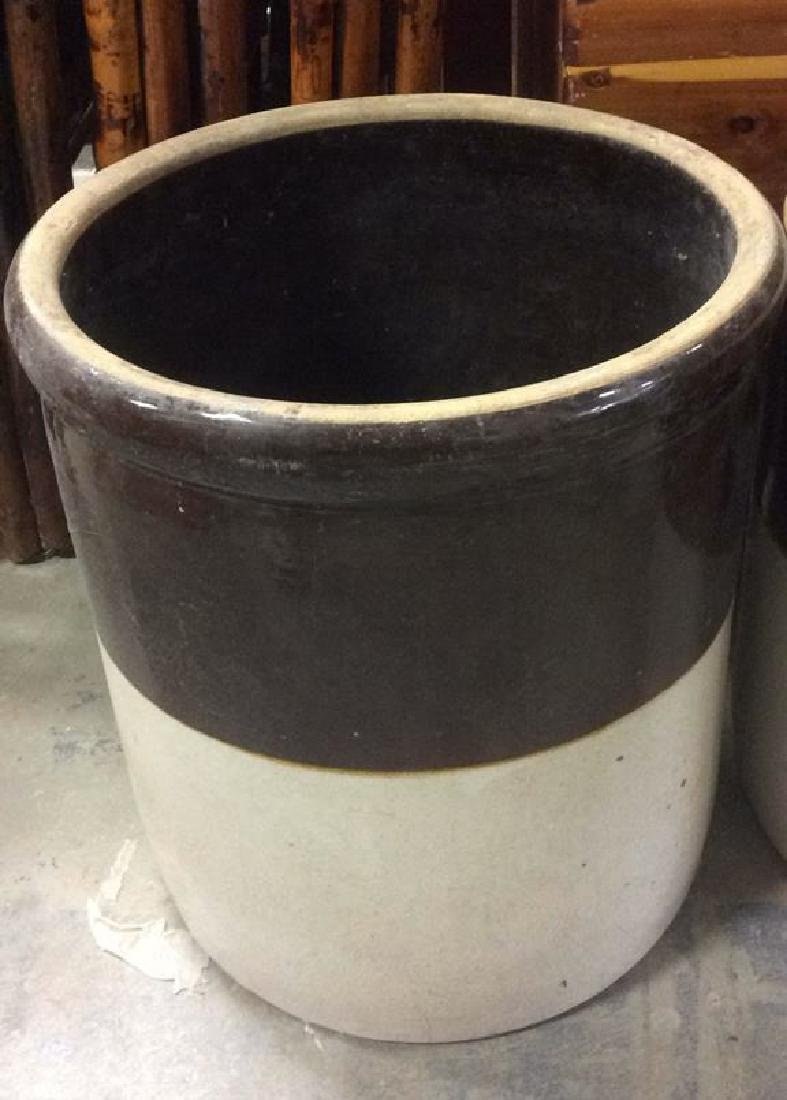 Pair Vintage 2 Toned Ceramic Pickle Barrels - 6
