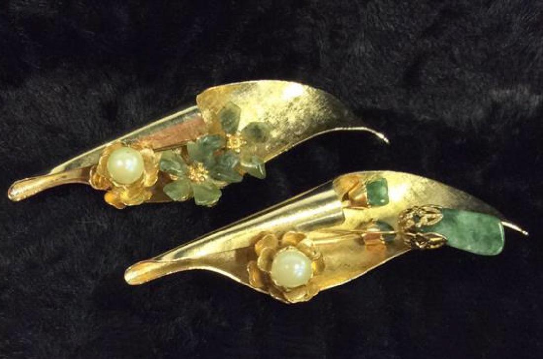 Pair Gold Toned Vintage Brooch Pins