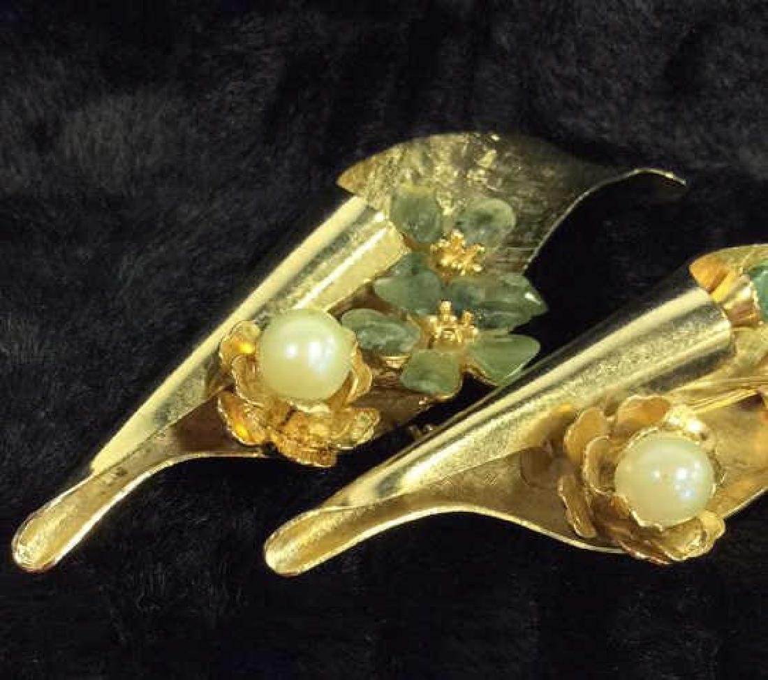 Pair Gold Toned Vintage Brooch Pins - 2