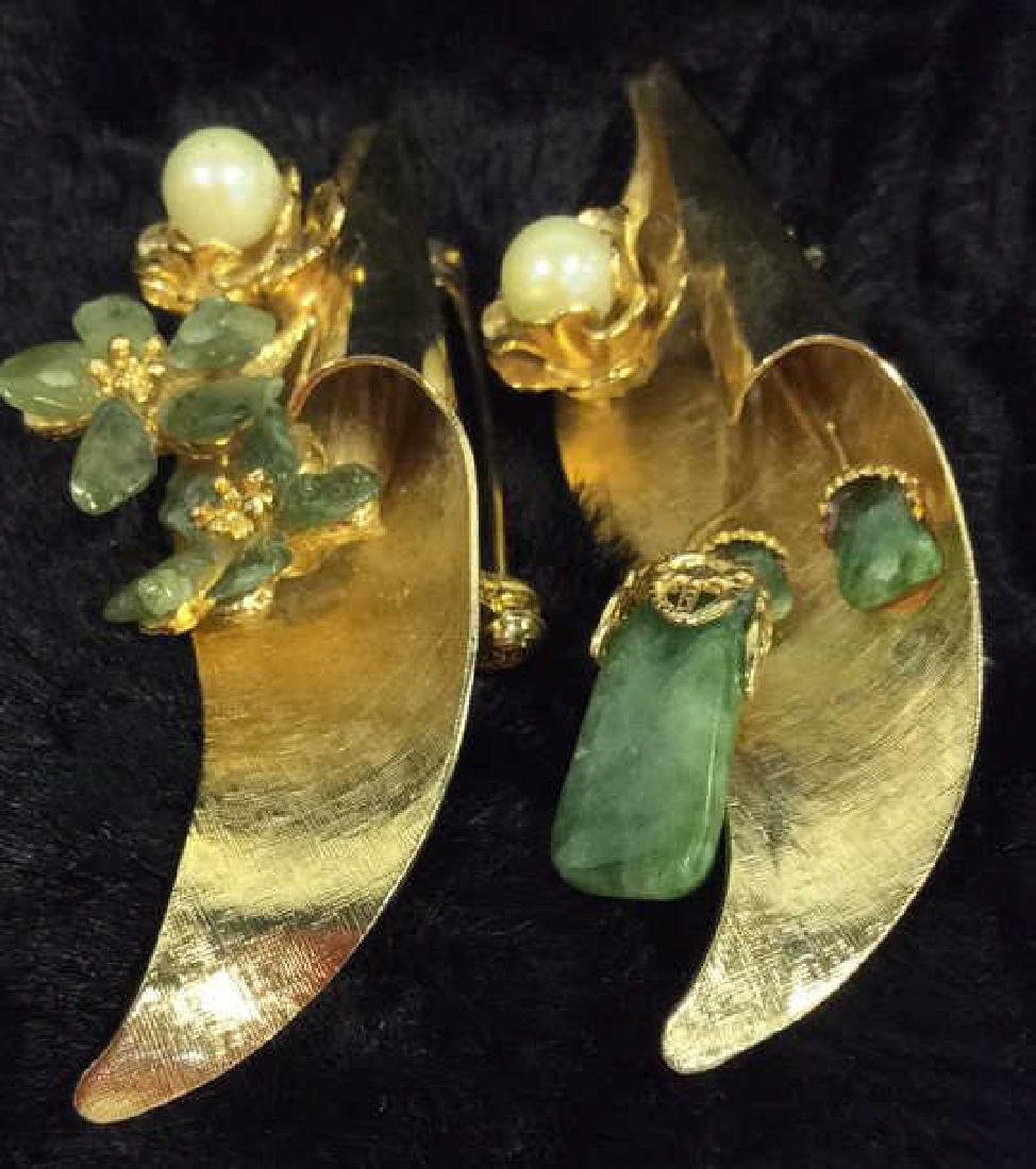 Pair Gold Toned Vintage Brooch Pins - 6