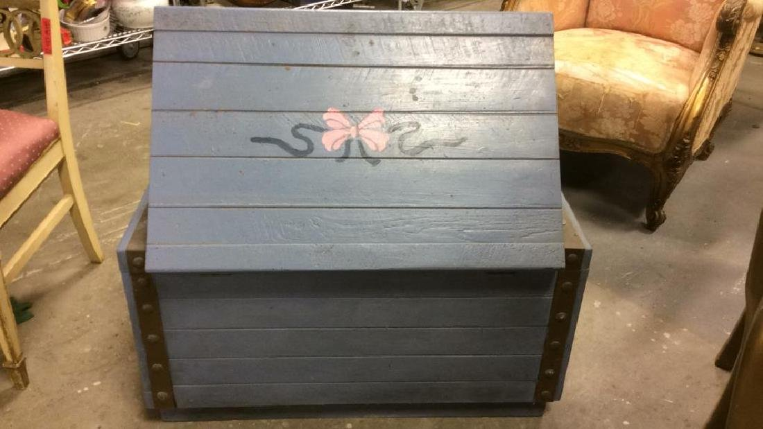 Vintage Painted Blue Wooden Chest - 10