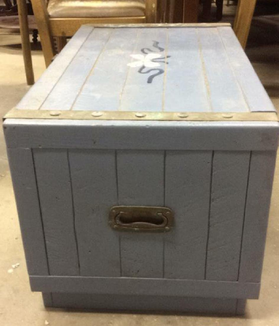 Vintage Painted Blue Wooden Chest - 5