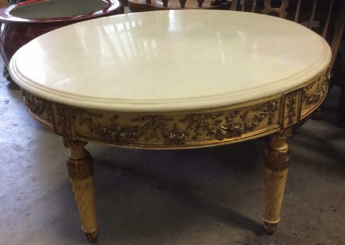 Vintage Marble Top Circular 4 Legged Table