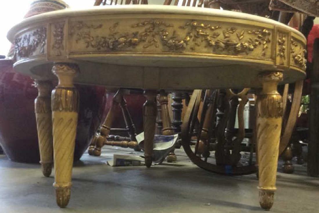 Vintage Marble Top Circular 4 Legged Table - 3