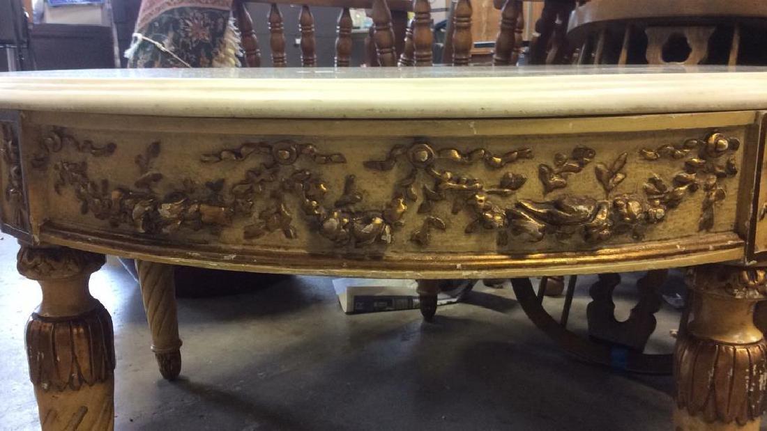 Vintage Marble Top Circular 4 Legged Table - 4
