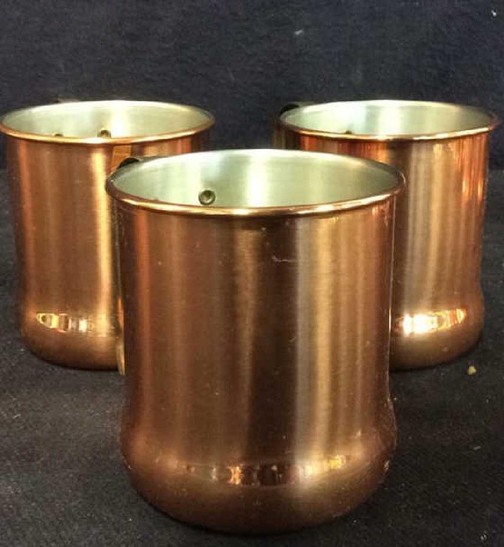 Lot 6 Copper Toned Cups W Handles - 10
