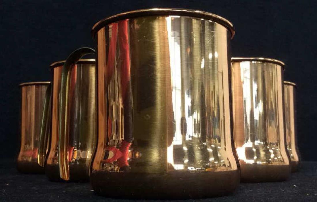 Lot 6 Copper Toned Cups W Handles
