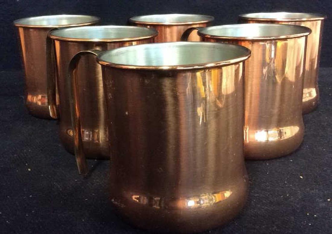 Lot 6 Copper Toned Cups W Handles - 2