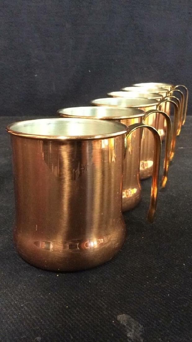 Lot 6 Copper Toned Cups W Handles - 4
