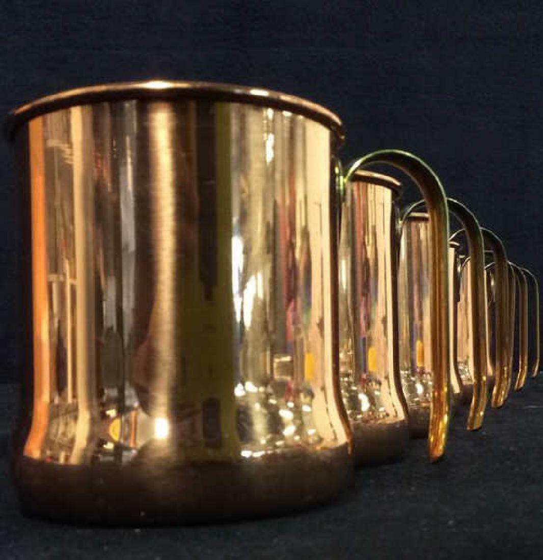 Lot 6 Copper Toned Cups W Handles - 5