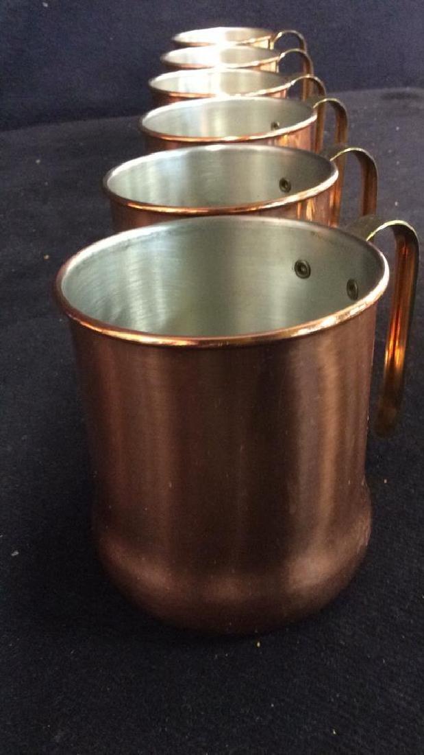 Lot 6 Copper Toned Cups W Handles - 6