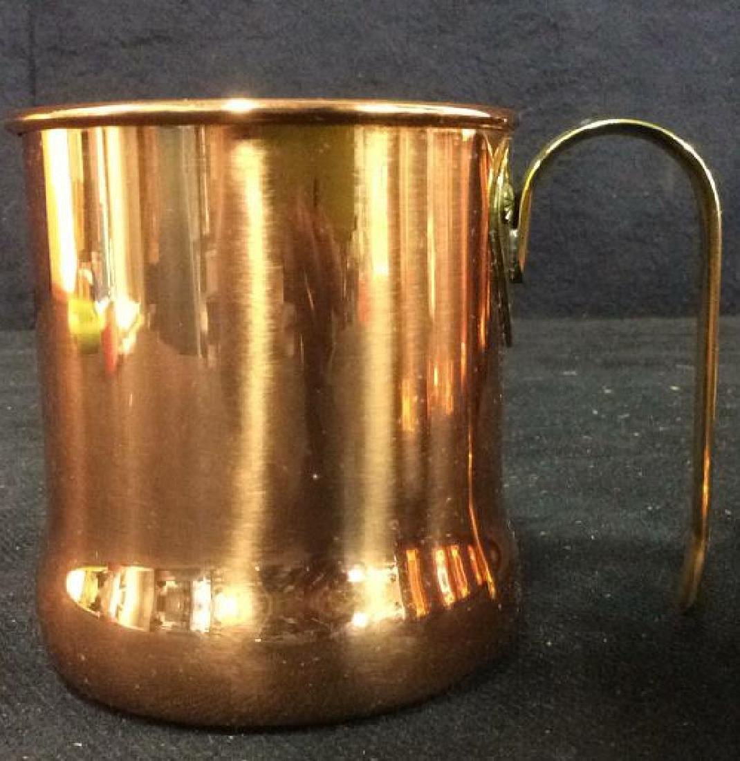 Lot 6 Copper Toned Cups W Handles - 7