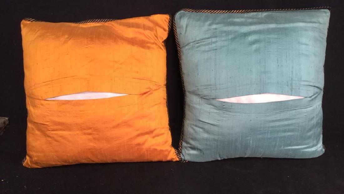 Pair Silk Asian Geometric Throw Pillows - 2