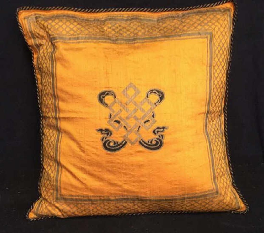 Pair Silk Asian Geometric Throw Pillows - 3