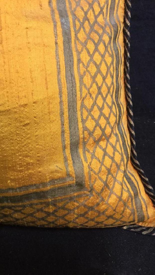 Pair Silk Asian Geometric Throw Pillows - 5