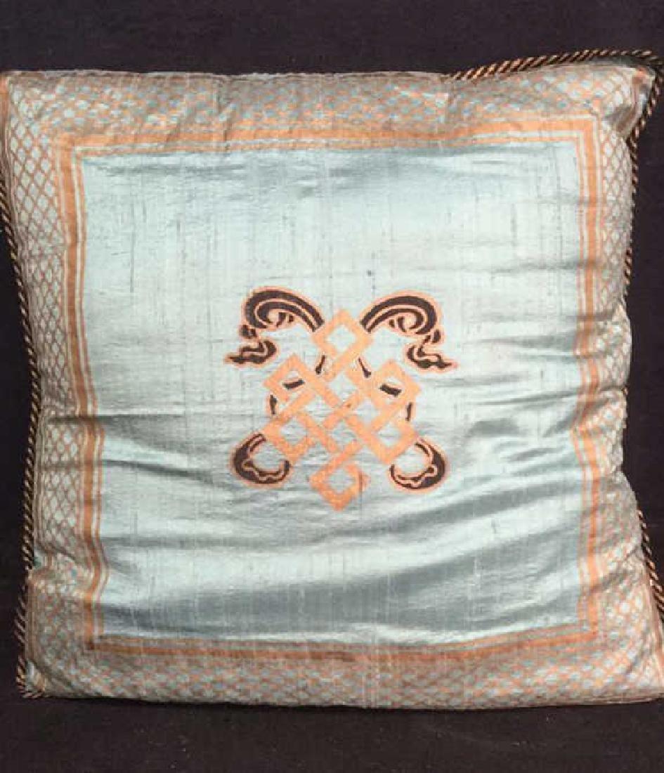 Pair Silk Asian Geometric Throw Pillows - 6