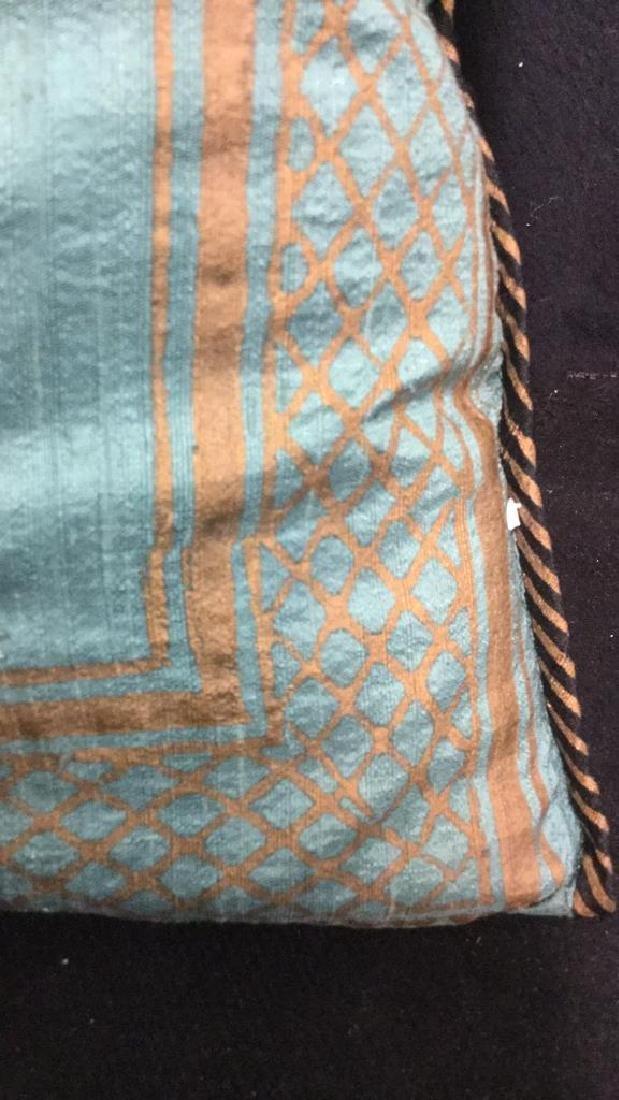 Pair Silk Asian Geometric Throw Pillows - 8