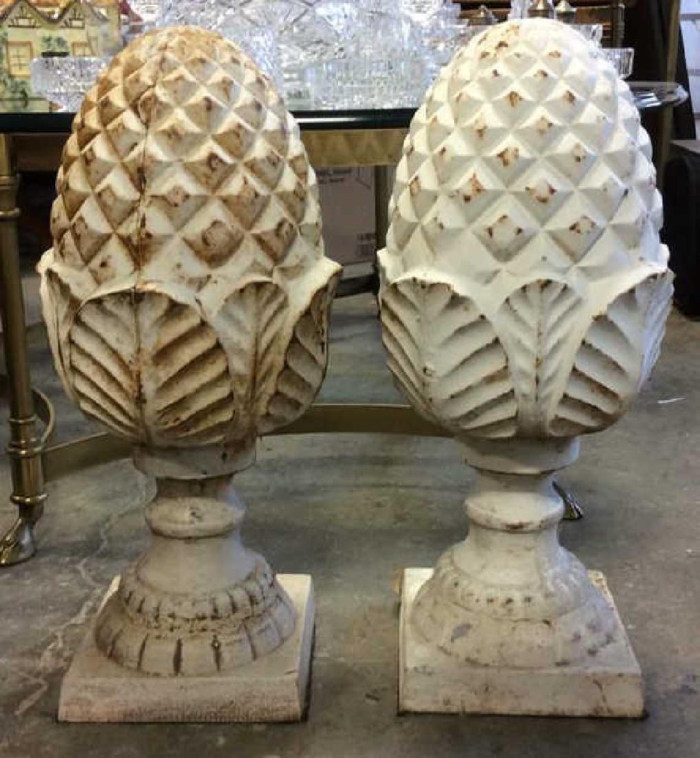 Pair Cast Iron White Toned Pineapples Sculptures