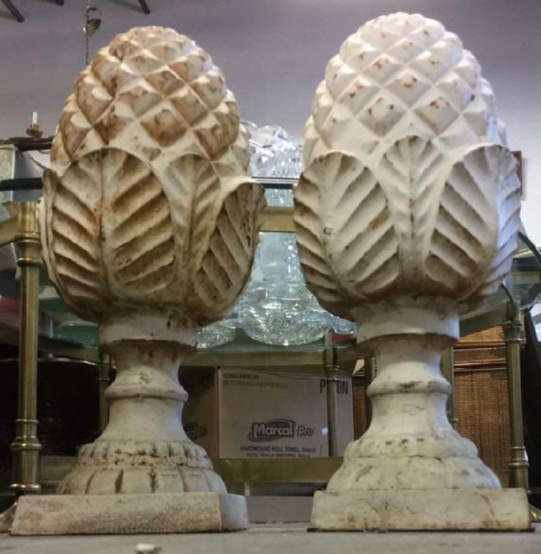 Pair Cast Iron White Toned Pineapples Sculptures - 2