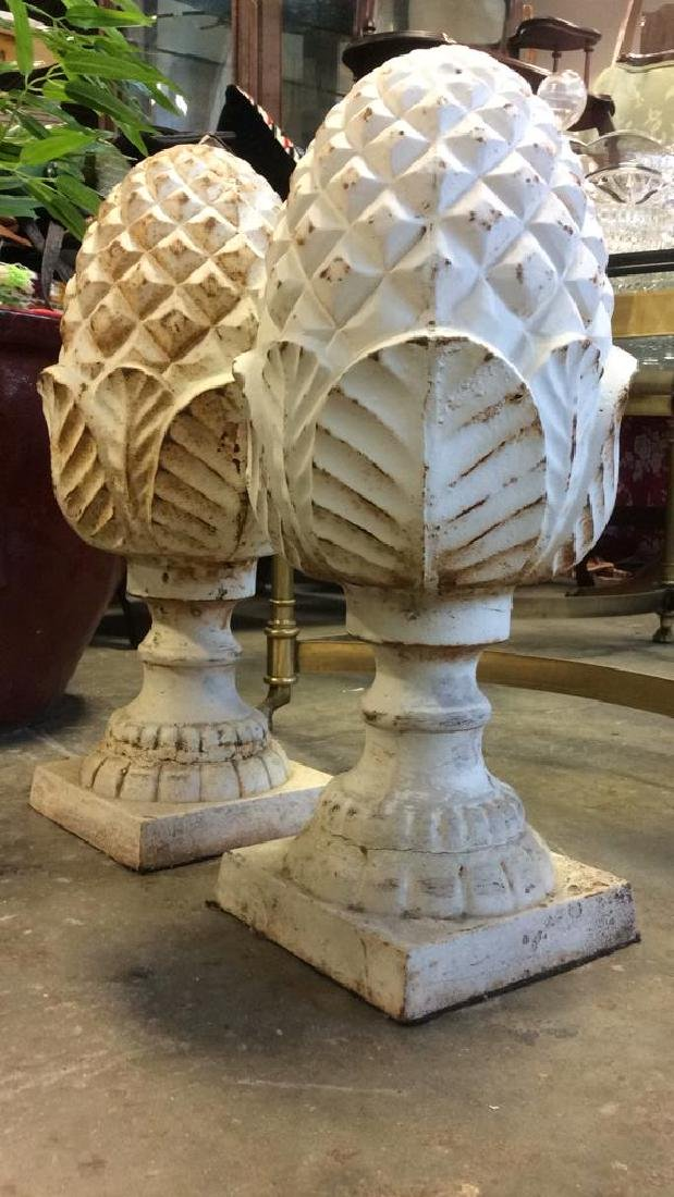 Pair Cast Iron White Toned Pineapples Sculptures - 6