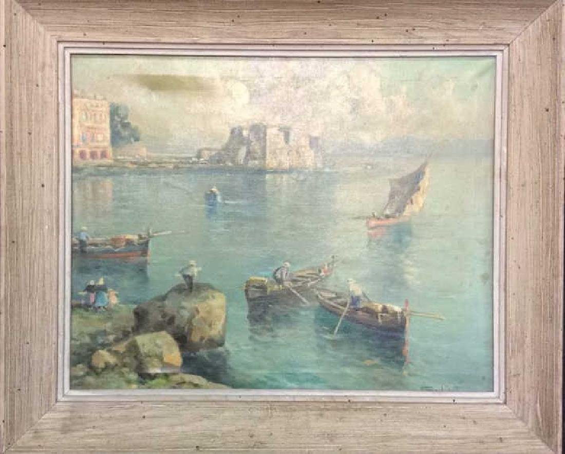Signed Framed European Painting On Canvas