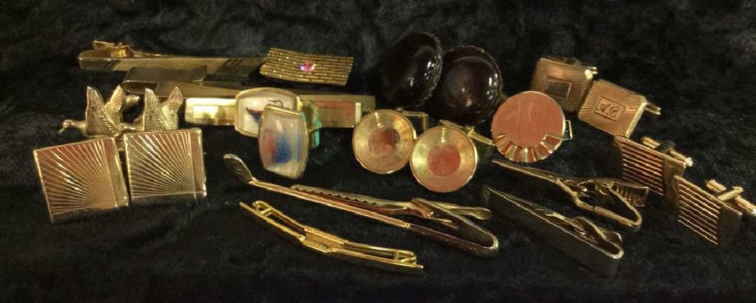 Group Lot Gold Toned Cufflinks & Tie Clips