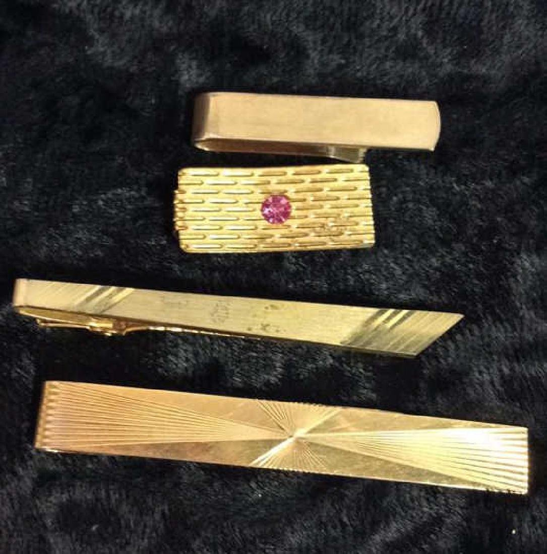 Group Lot Gold Toned Cufflinks & Tie Clips - 6