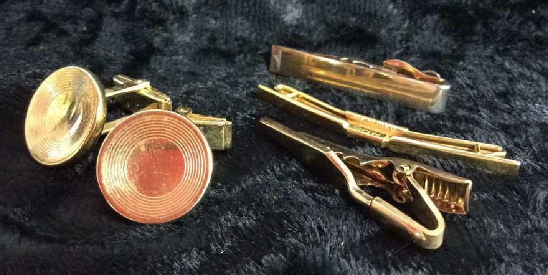 Group Lot Gold Toned Cufflinks & Tie Clips - 8