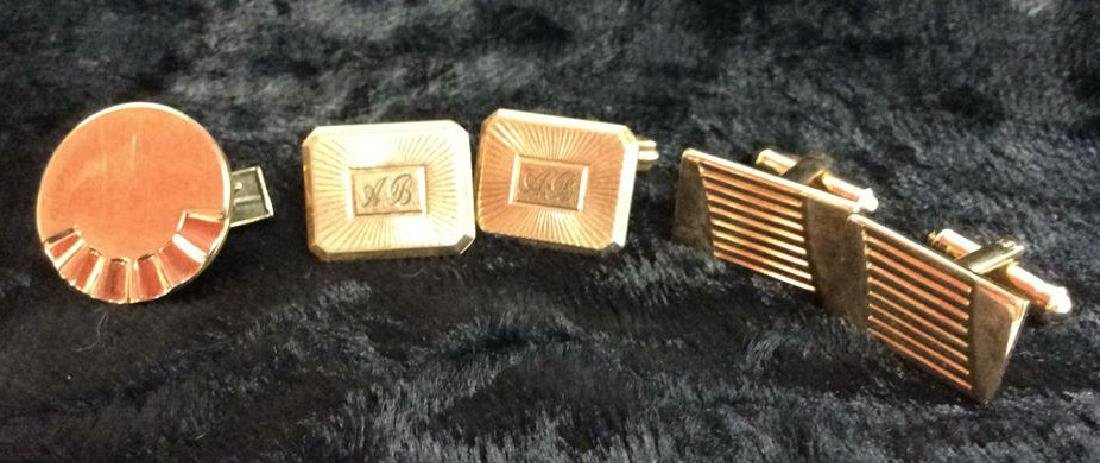 Group Lot Gold Toned Cufflinks & Tie Clips - 9