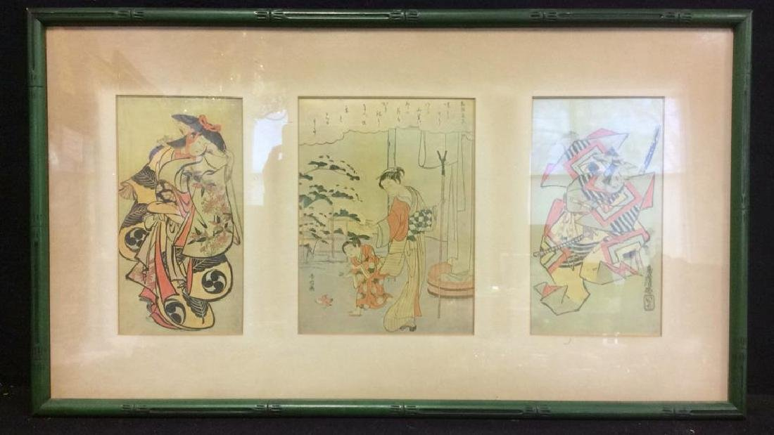 Framed Japanese Woodblock Style Print Grouping