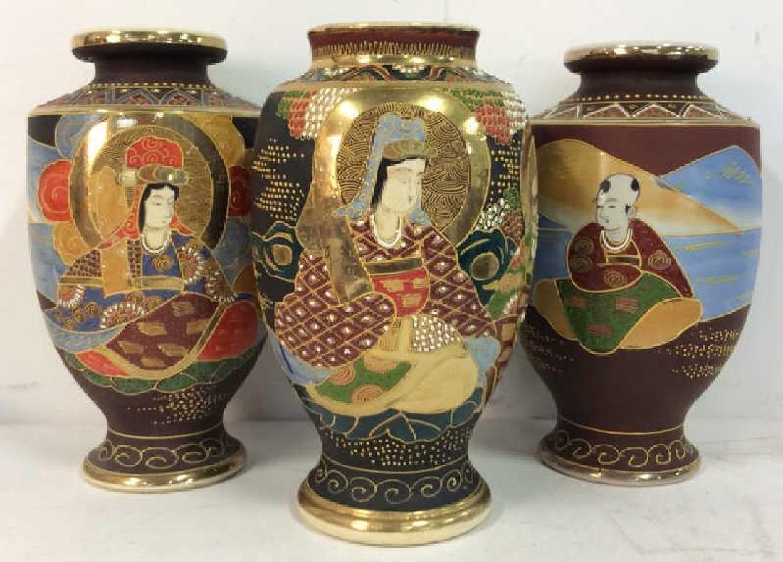 Set 3 Oriental Porcelain Ceramic Vases
