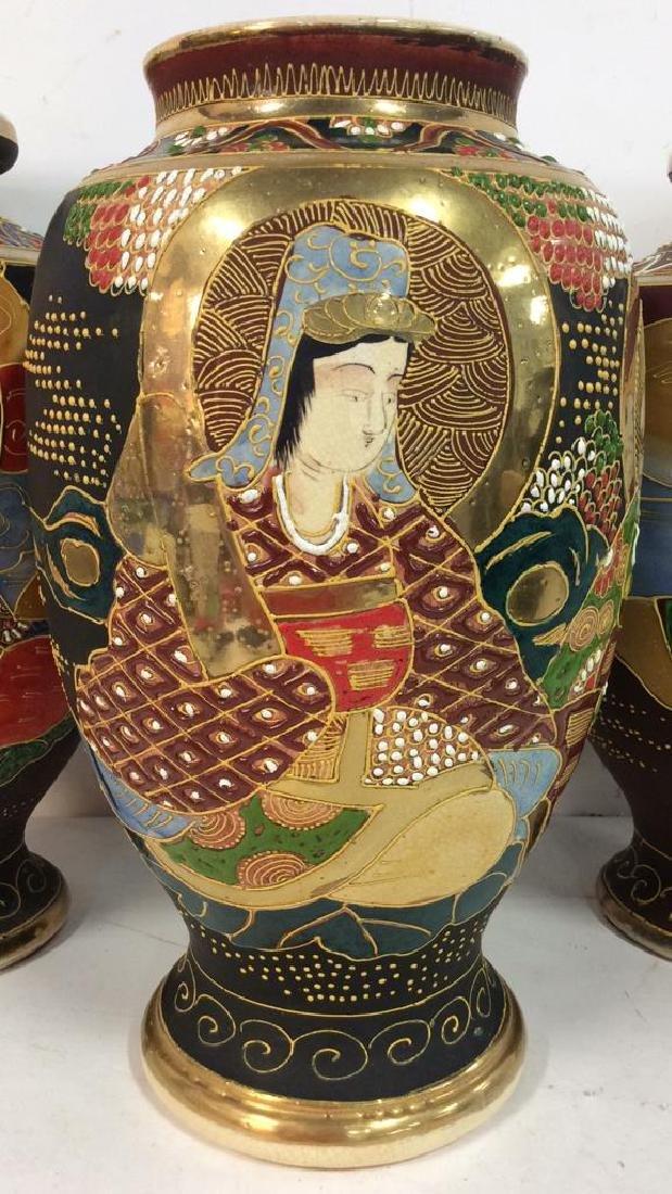 Set 3 Oriental Porcelain Ceramic Vases - 2