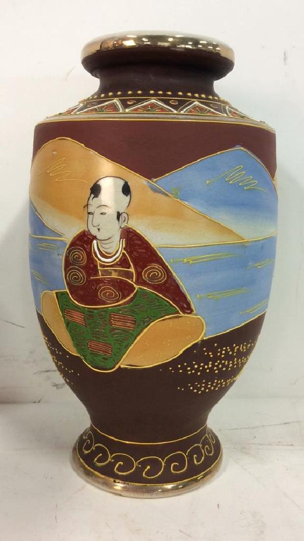 Set 3 Oriental Porcelain Ceramic Vases - 3
